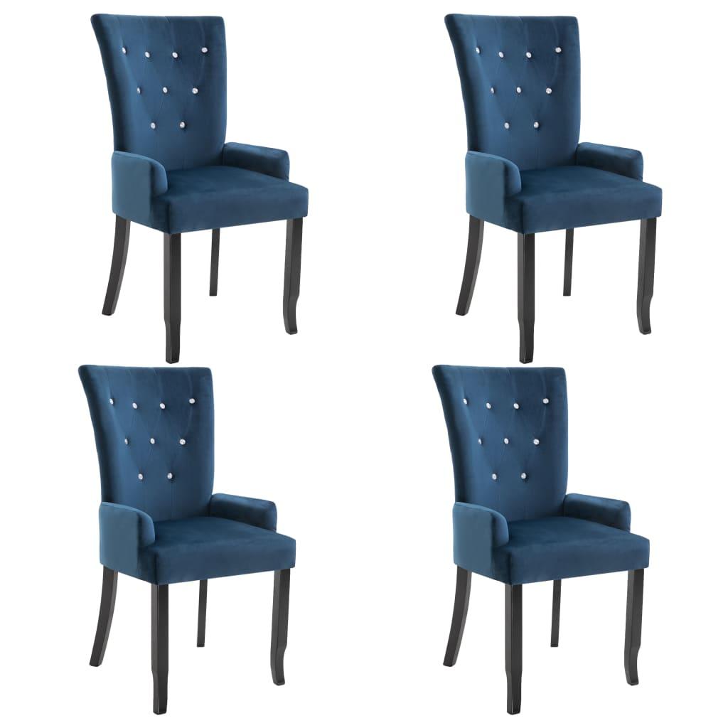 vidaXL Καρέκλες Τραπεζαρίας με Μπράτσα 4 τεμ. Σκούρο Μπλε Βελούδινες