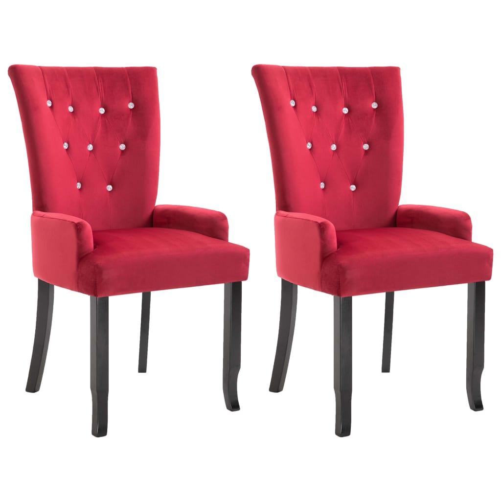 vidaXL Καρέκλες Τραπεζαρίας με Μπράτσα 2 τεμ. Κόκκινες Βελούδινες