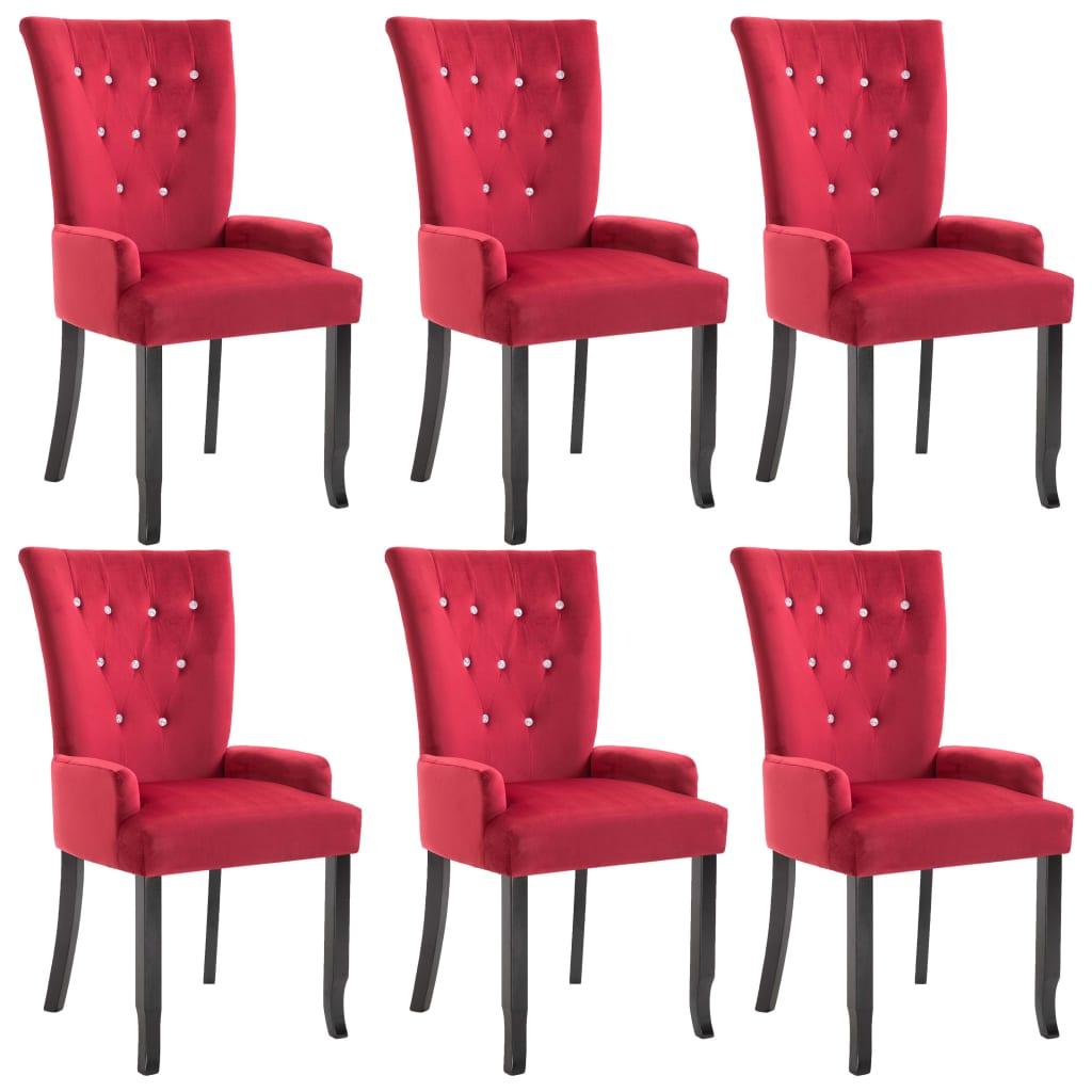 vidaXL Καρέκλες Τραπεζαρίας με Μπράτσα 6 τεμ. Κόκκινες Βελούδινες