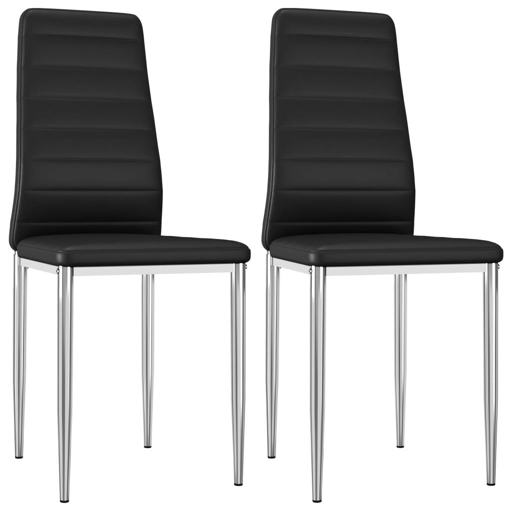 vidaXL Jídelní židle 2 ks černé umělá kůže