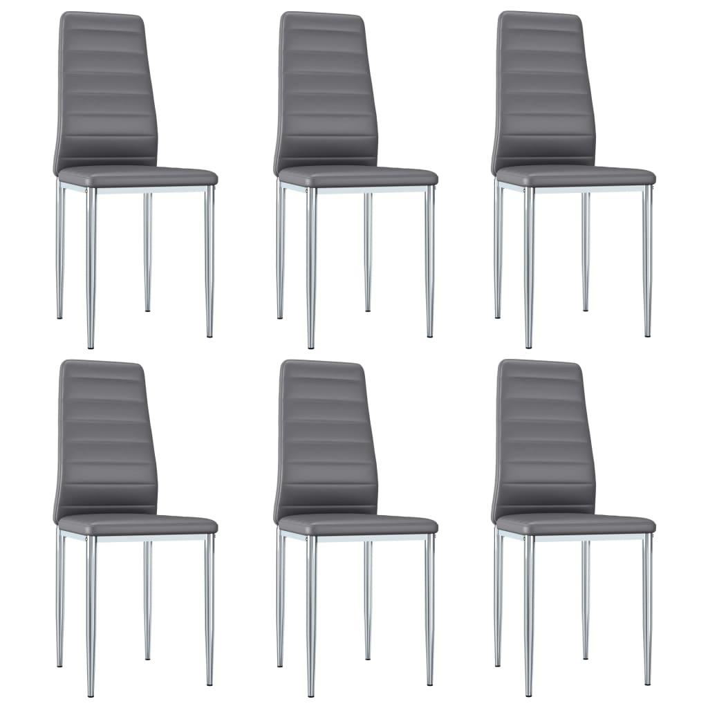 vidaXL spisebordsstole 6 stk. kunstlæder grå
