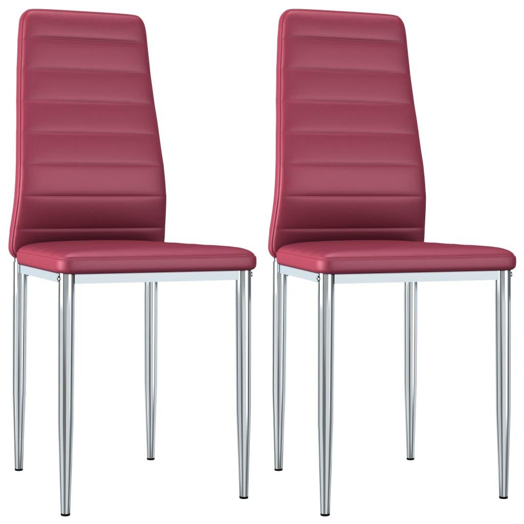 Jídelní židle 2 ks červené umělá kůže
