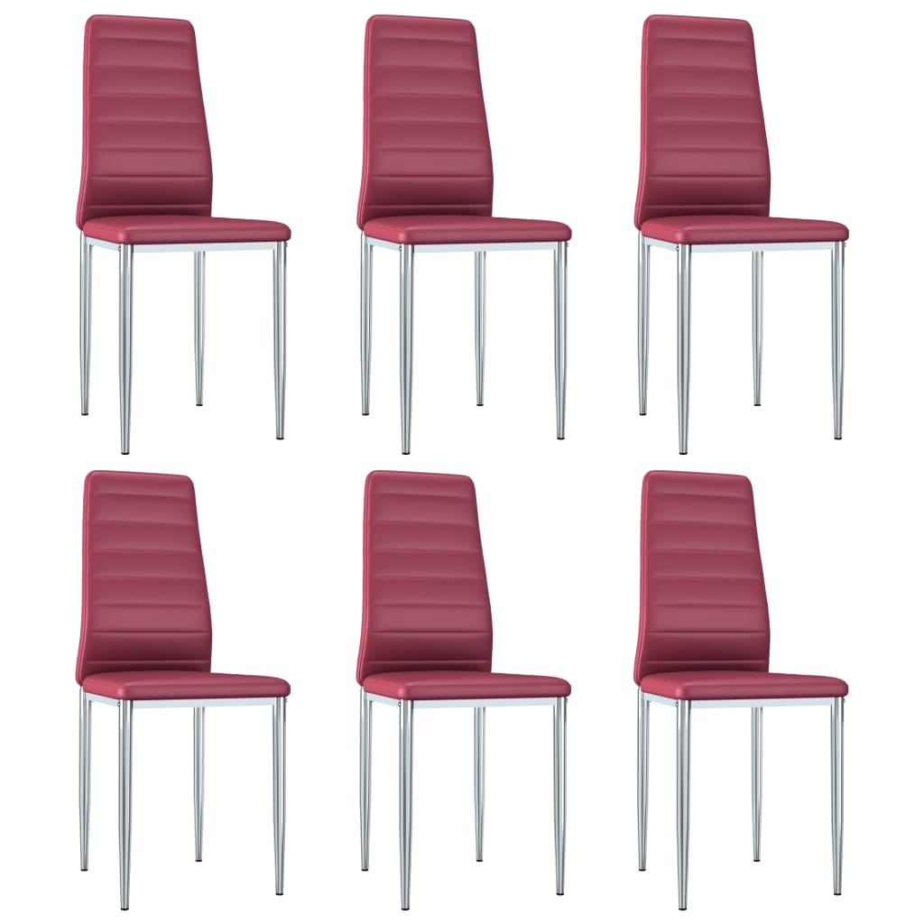 vidaXL spisebordsstole 6 stk. kunstlæder rød