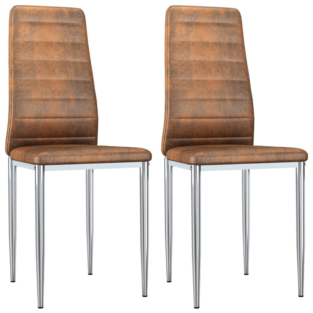 vidaXL Καρέκλες Τραπεζαρίας 2 τεμ. Καφέ από Συνθετικό Καστόρι