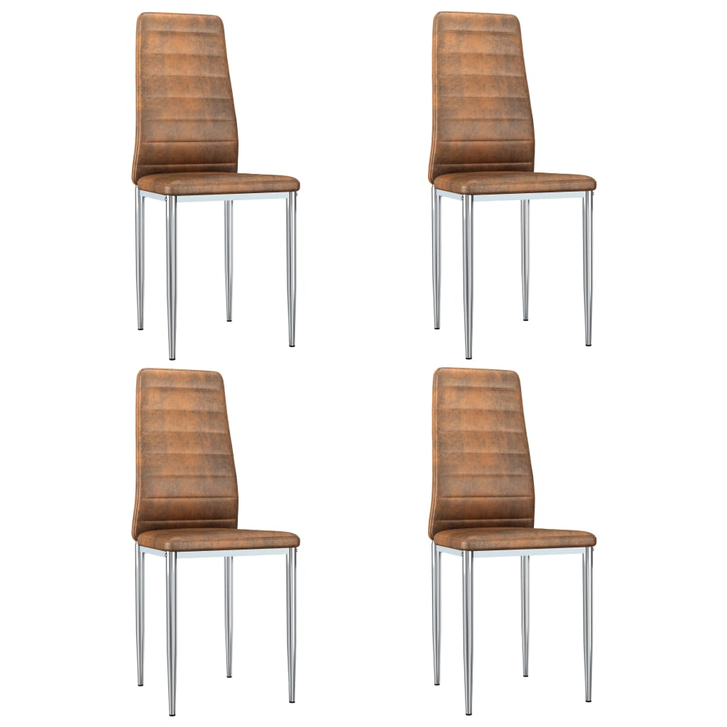 vidaXL Καρέκλες Τραπεζαρίας 4 τεμ. Καφέ από Συνθετικό Καστόρι