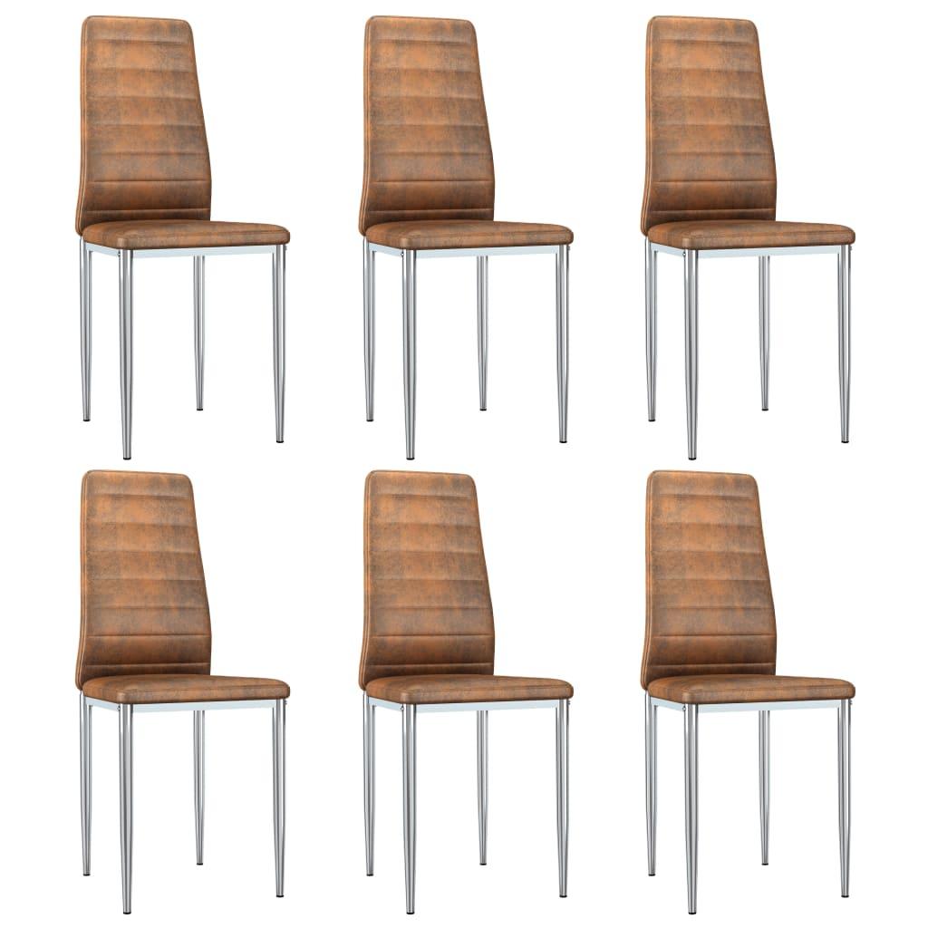 vidaXL Καρέκλες Τραπεζαρίας 6 τεμ. Καφέ από Συνθετικό Καστόρι