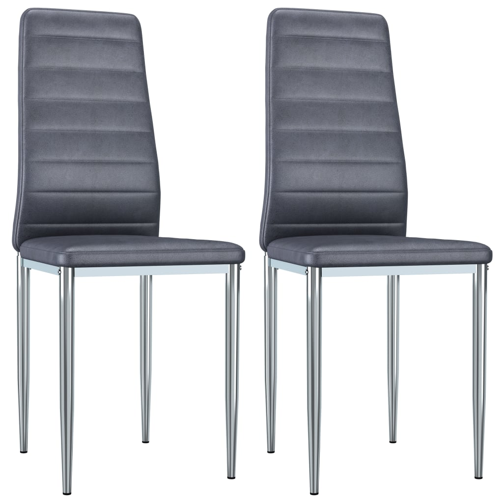 vidaXL Καρέκλες Τραπεζαρίας 2 τεμ. Γκρι από Συνθετικό Καστόρι