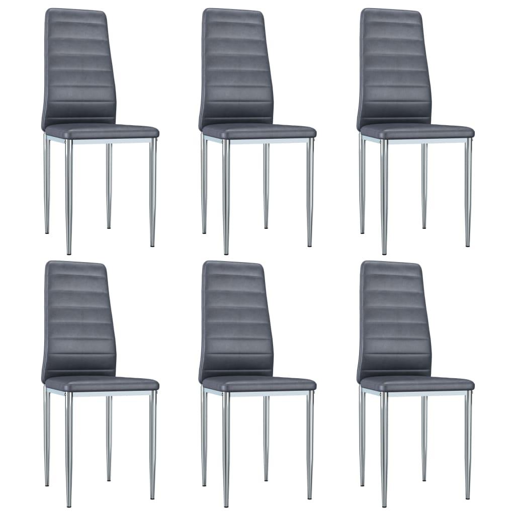vidaXL Καρέκλες Τραπεζαρίας 6 τεμ. Γκρι από Συνθετικό Καστόρι