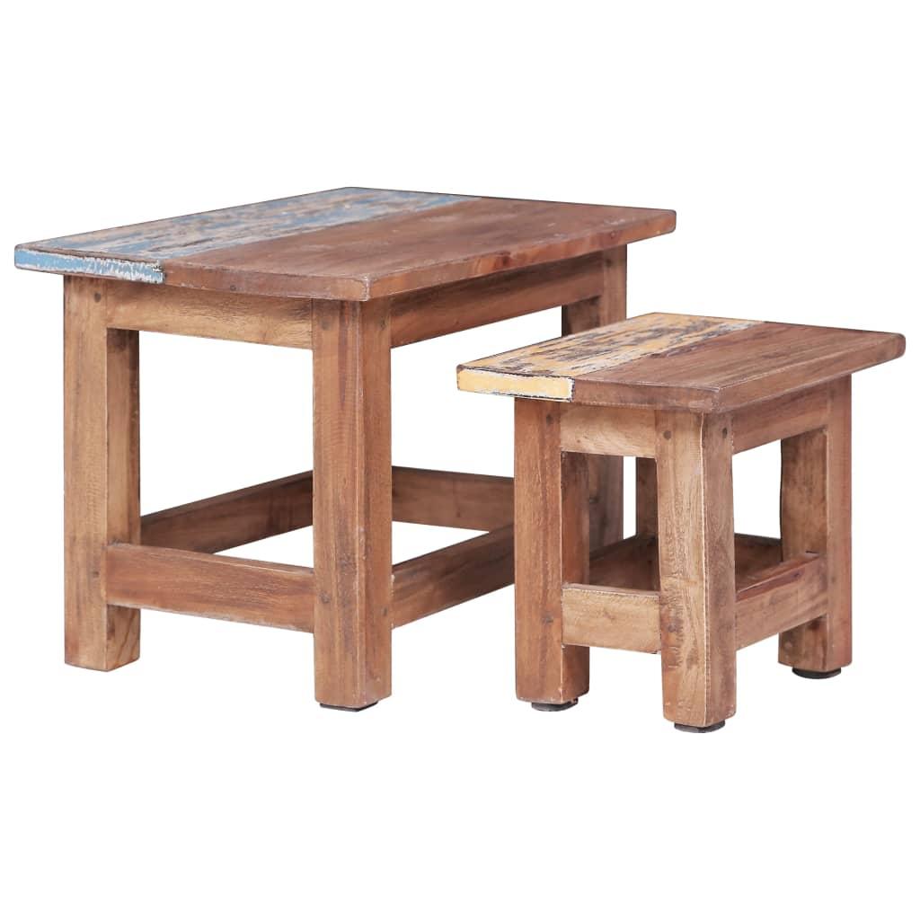 vidaXL Hnízdové stolky 2 ks masivní recyklované dřevo
