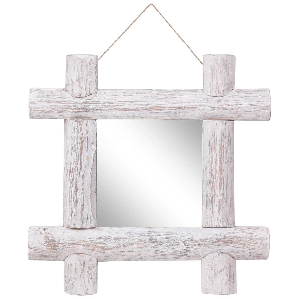 vidaXL Oglindă cu ramă din bușteni, alb, 50x50 cm, lemn masiv reciclat poza vidaxl.ro