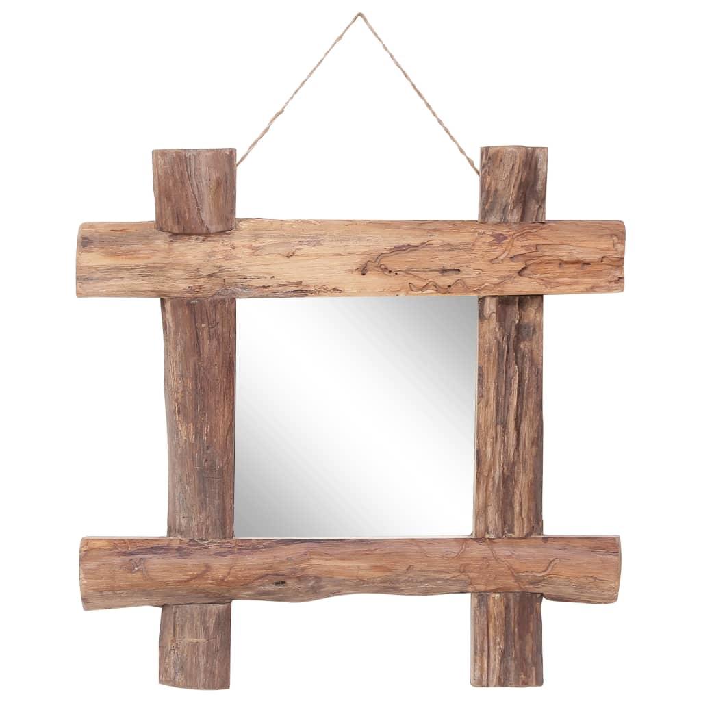 vidaXL Zrcadlo z polínek přírodní 50 x 50 cm masivní recyklované dřevo