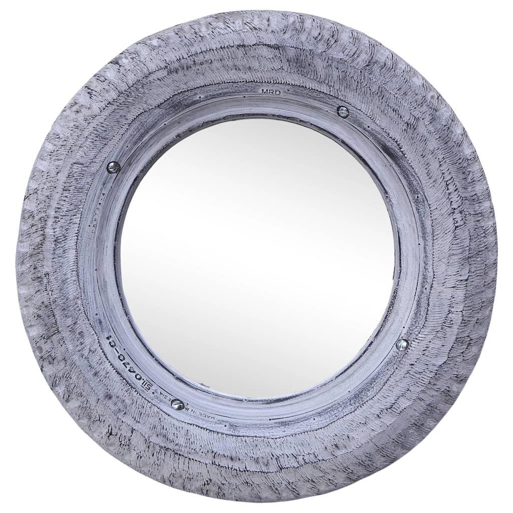 Zrcadlo bílé 50 cm masivní recyklovaná pneumatika kaučuk