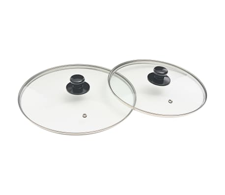 vidaXL Juego de sartenes 5 piezas aluminio negro[6/8]