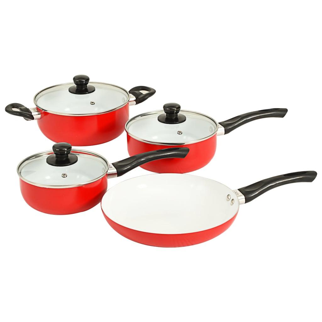 vidaXL Set de vase pentru gătit, 7 piese, roșu, aluminiu imagine vidaxl.ro