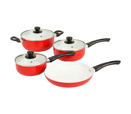 vidaXL 7 Piece Cookware Set Red Aluminium