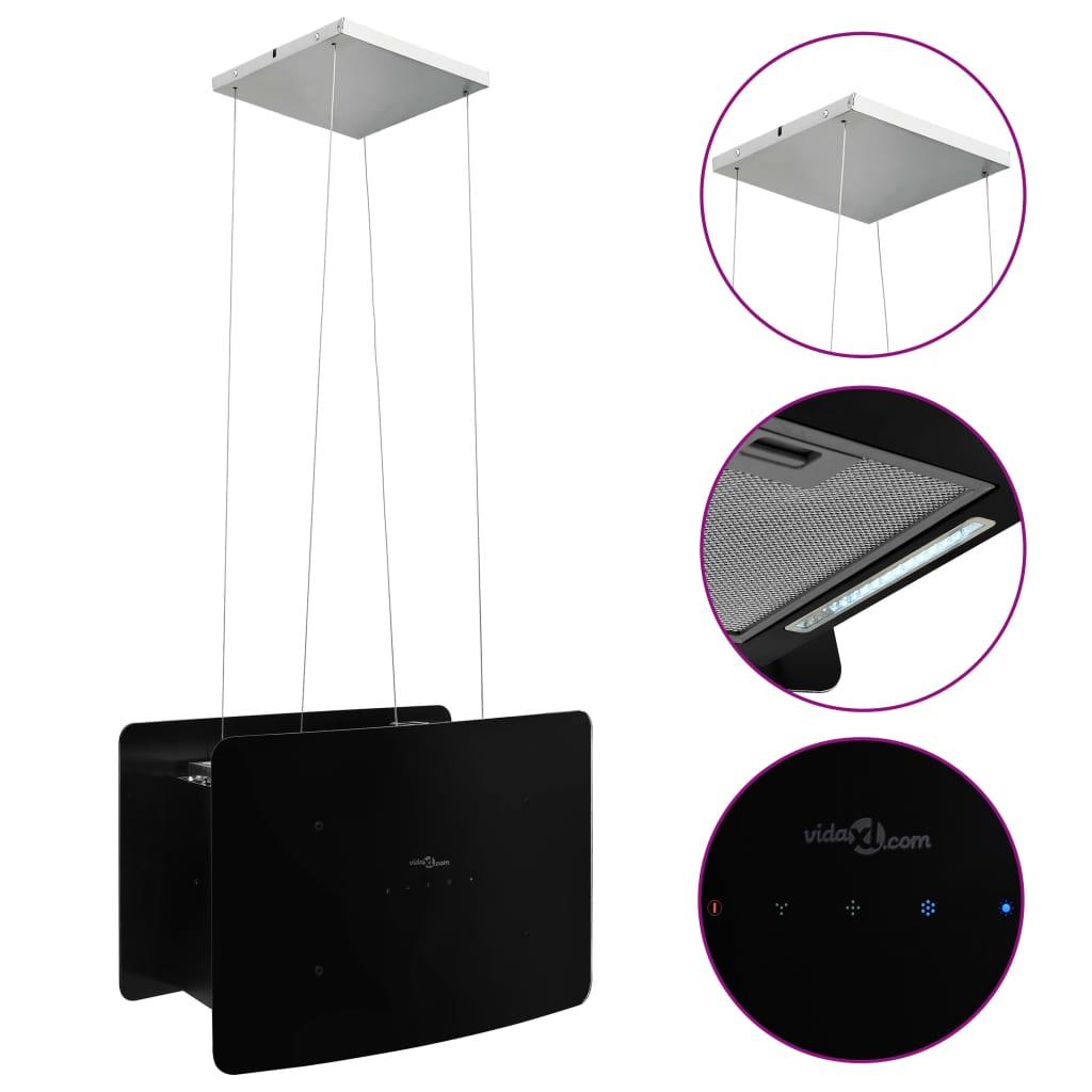 vidaXL Απορροφητήρας Νησίδα Κρεμαστός Αφής με LCD από Ψημένο Γυαλί