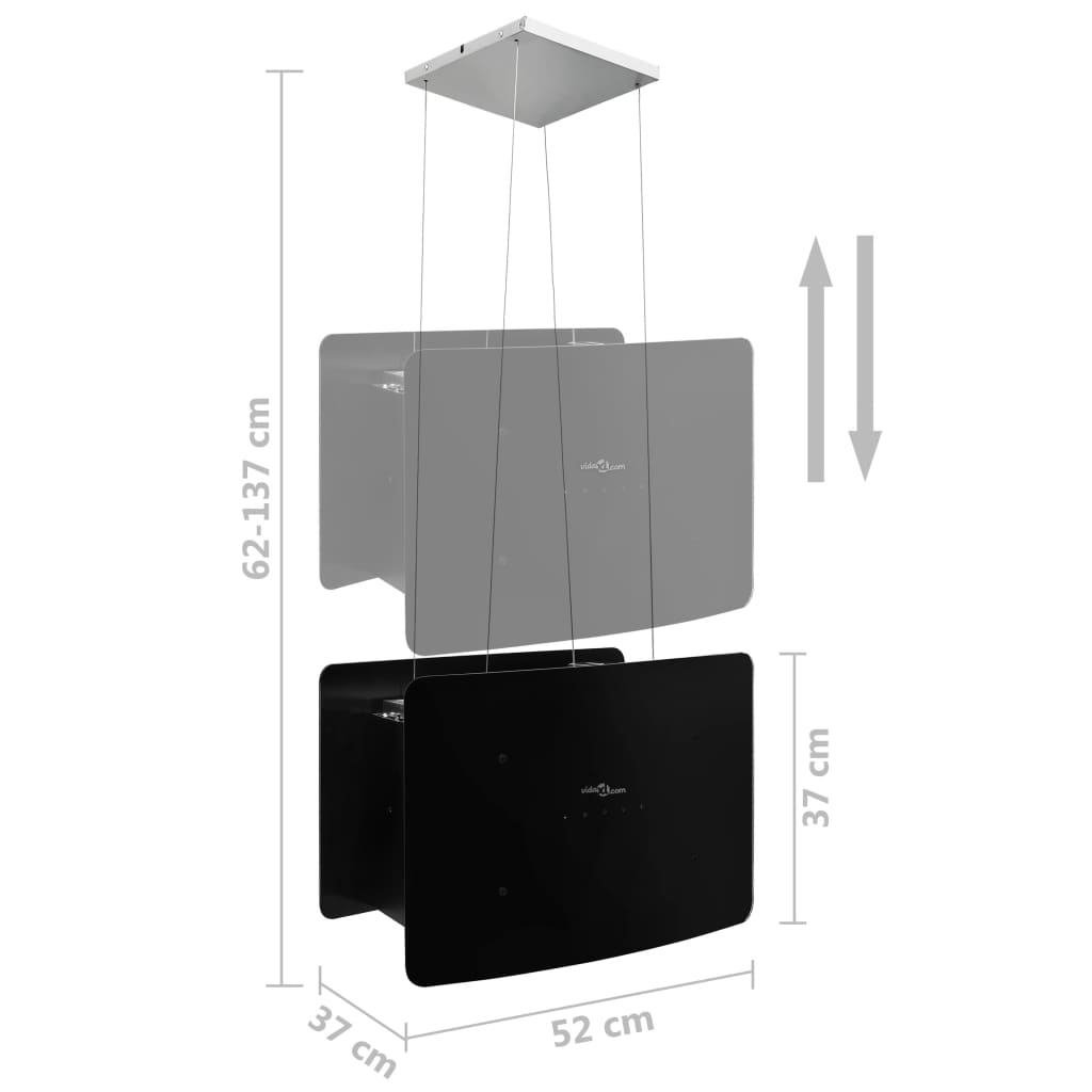 Afzuigkap hangend met aanraaksensor LCD gehard glas