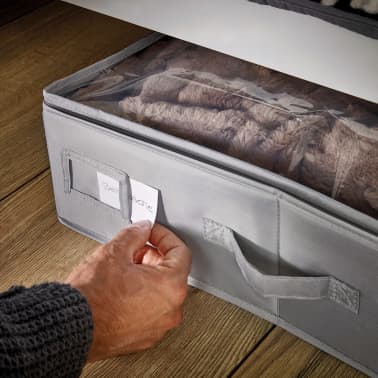 Leifheit Caja de almacenaje bajo la cama pequeña gris 64x45x15cm 2 uds[4/6]