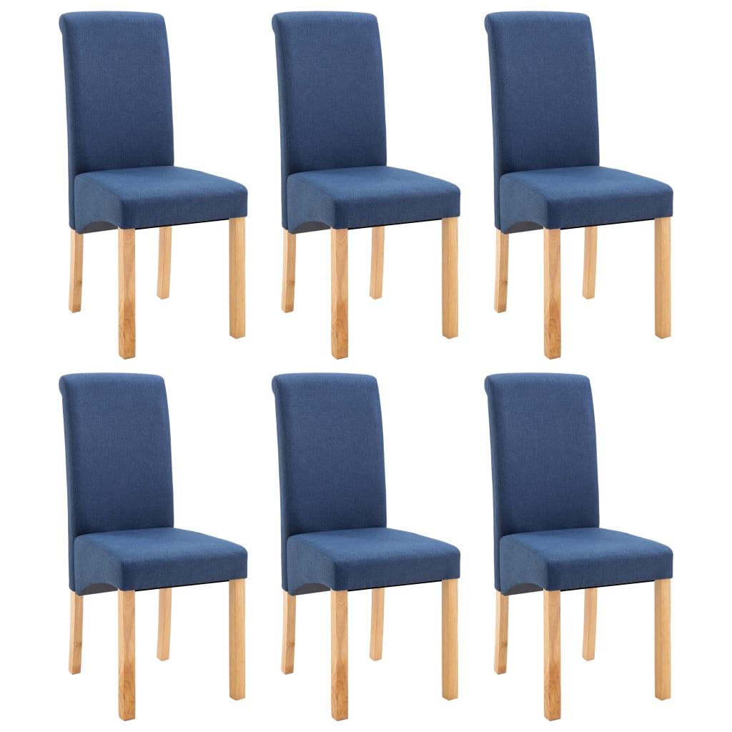 vidaXL Καρέκλες Τραπεζαρίας 6 τεμ. Μπλε Υφασμάτινες