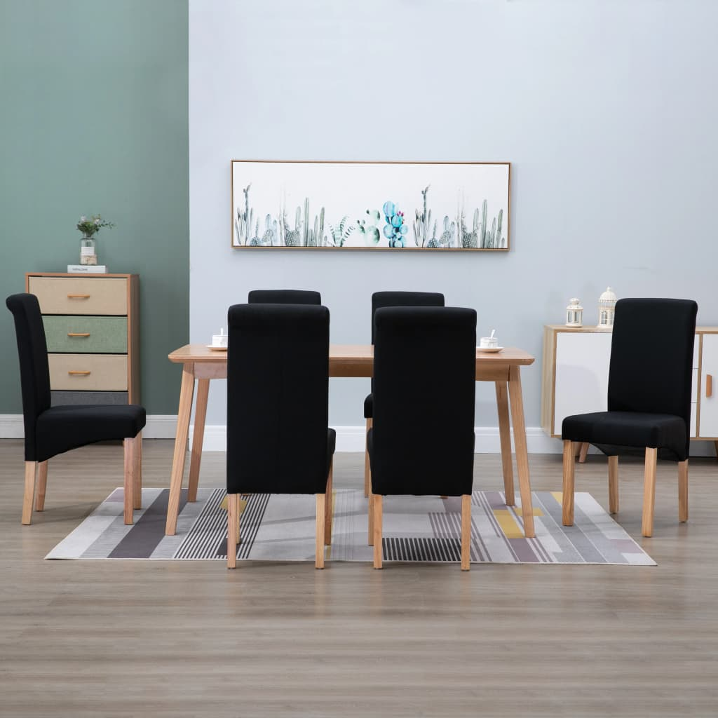 vidaXL Scaune de sufragerie, 6 buc., negru, material textil poza 2021 vidaXL