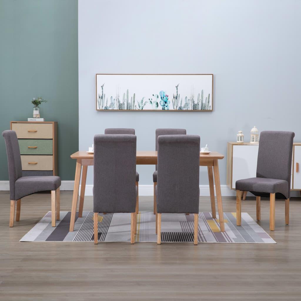 <ul><li>Farbe: Taupe</li><li>Material: Stoff und Holzrahmen</li><li>Gesamtmaße: 42 x 54,5 x 96 cm (B x T x H)</li><li>Sitzbreite: 42 cm</li><li>Sitztiefe: 40,5 cm</li><li>Sitzhöhe vom Boden: 47 cm</li><li>Höhe der Rückenlehne: 48 cm</li><li>Lieferung enthält 6 Stk. Esszimmerstühle</li><li>Material: Polyester: 100%</li></ul>