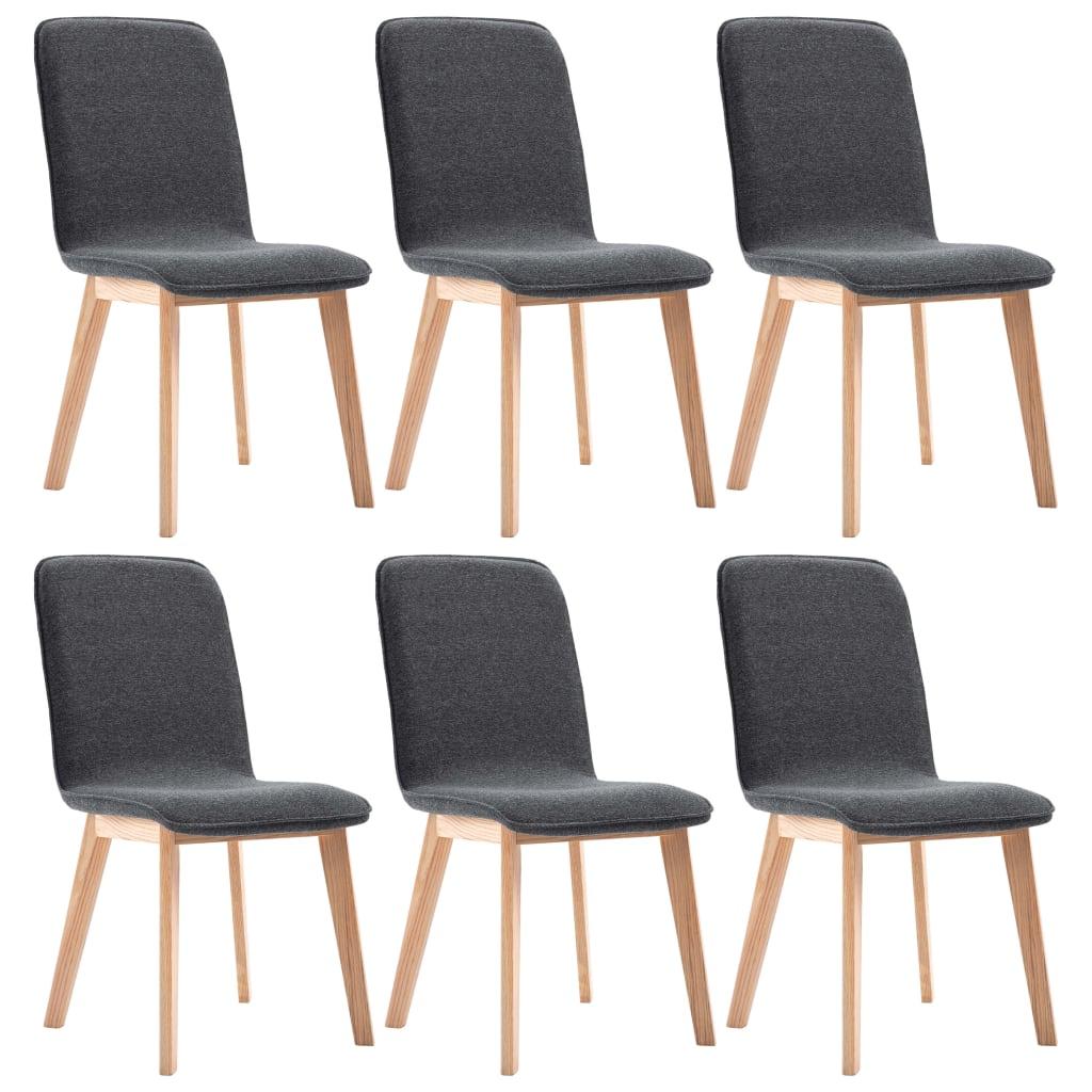 vidaXL Καρέκλες Τραπεζαρίας 6 τεμ. Γκρι Υφασμάτινες / Μασίφ Ξύλο Δρυός