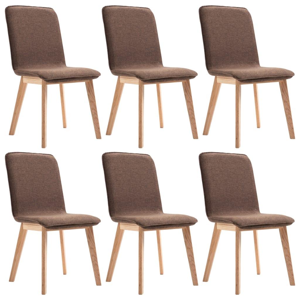 vidaXL Καρέκλες Τραπεζαρίας 6 τεμ. Καφέ Υφασμάτινες / Μασίφ Ξύλο Δρυός