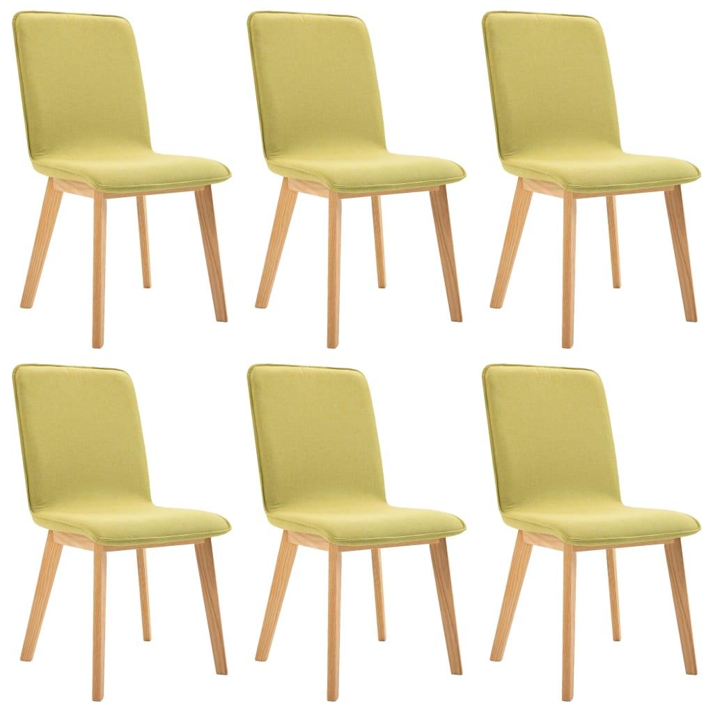 vidaXL Καρέκλες Τραπεζαρίας 6 τεμ. Πράσινες Ύφασμα / Μασίφ Ξύλο Δρυός