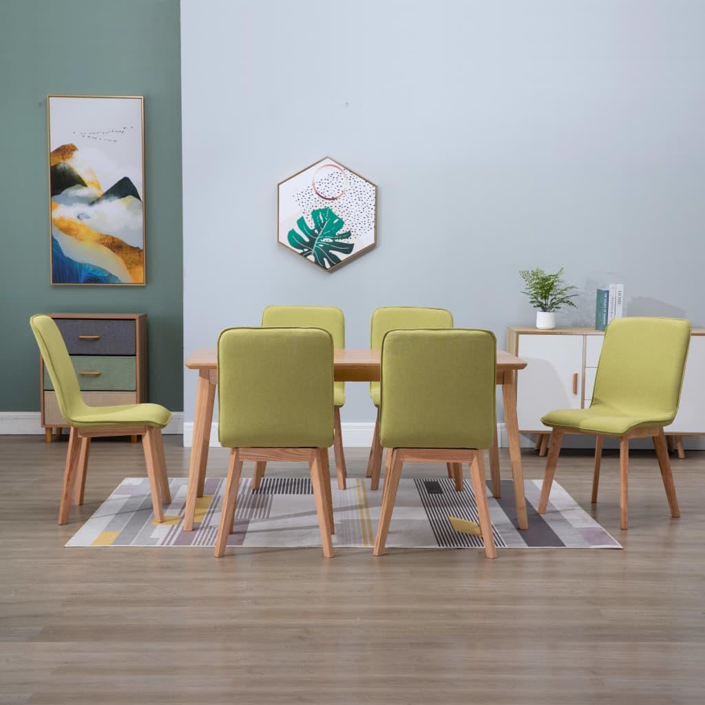 vidaXL Scaune de bucătărie 6 buc, verde, textil & lemn de stejar masiv poza 2021 vidaXL