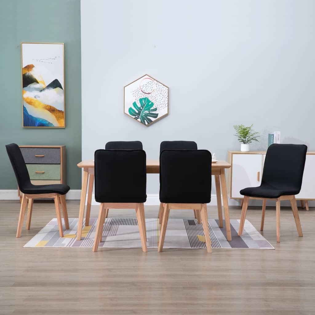 vidaXL Scaune de bucătărie 6 buc. negru, textil & lemn de stejar masiv poza vidaxl.ro