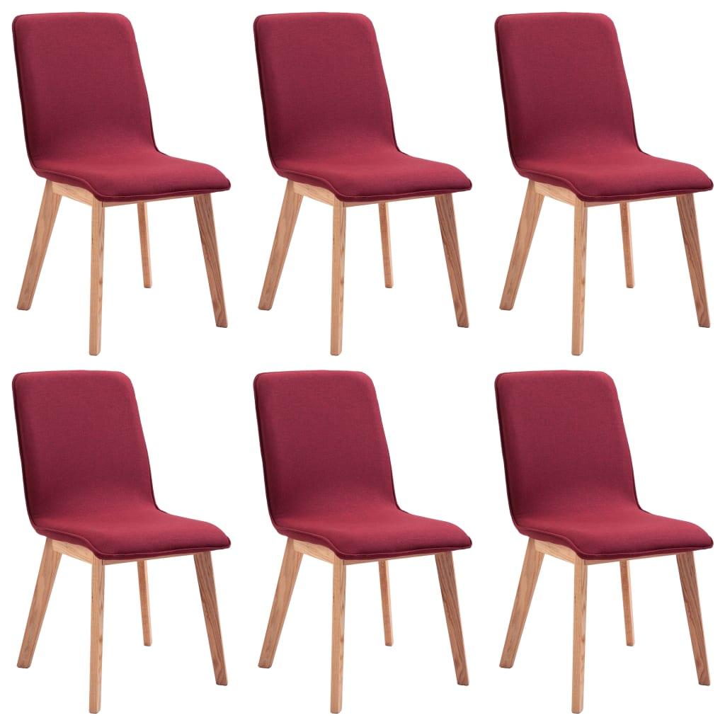 vidaXL Καρέκλες Τραπεζαρίας 6 τεμ. Κόκκινες Υφασμάτινες