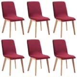 vidaXL Blagovaonske stolice tkanina i hrastovina 6 kom crvene
