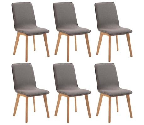 vidaXL Jídelní židle 6 ks taupe textil a masivní dubové dřevo