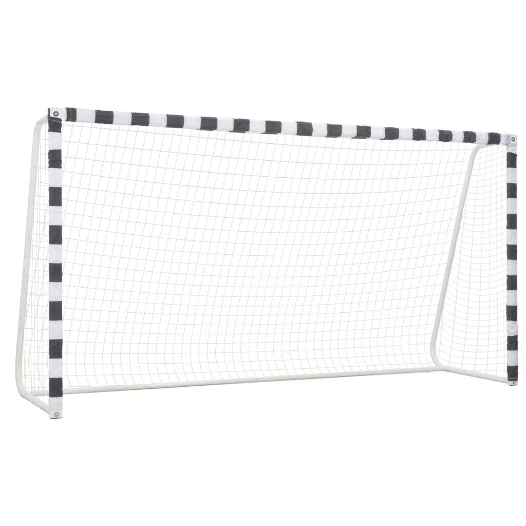 vidaXL Poartă de fotbal, negru și alb, 300 x 160 x 90 cm, metal poza 2021 vidaXL