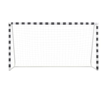 vidaXL Futbolo vartai, juodos ir baltos sp., 300x160x90 cm, metalas[2/5]