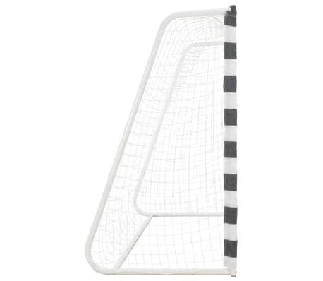 vidaXL Futbolo vartai, juodos ir baltos sp., 300x160x90 cm, metalas[3/5]