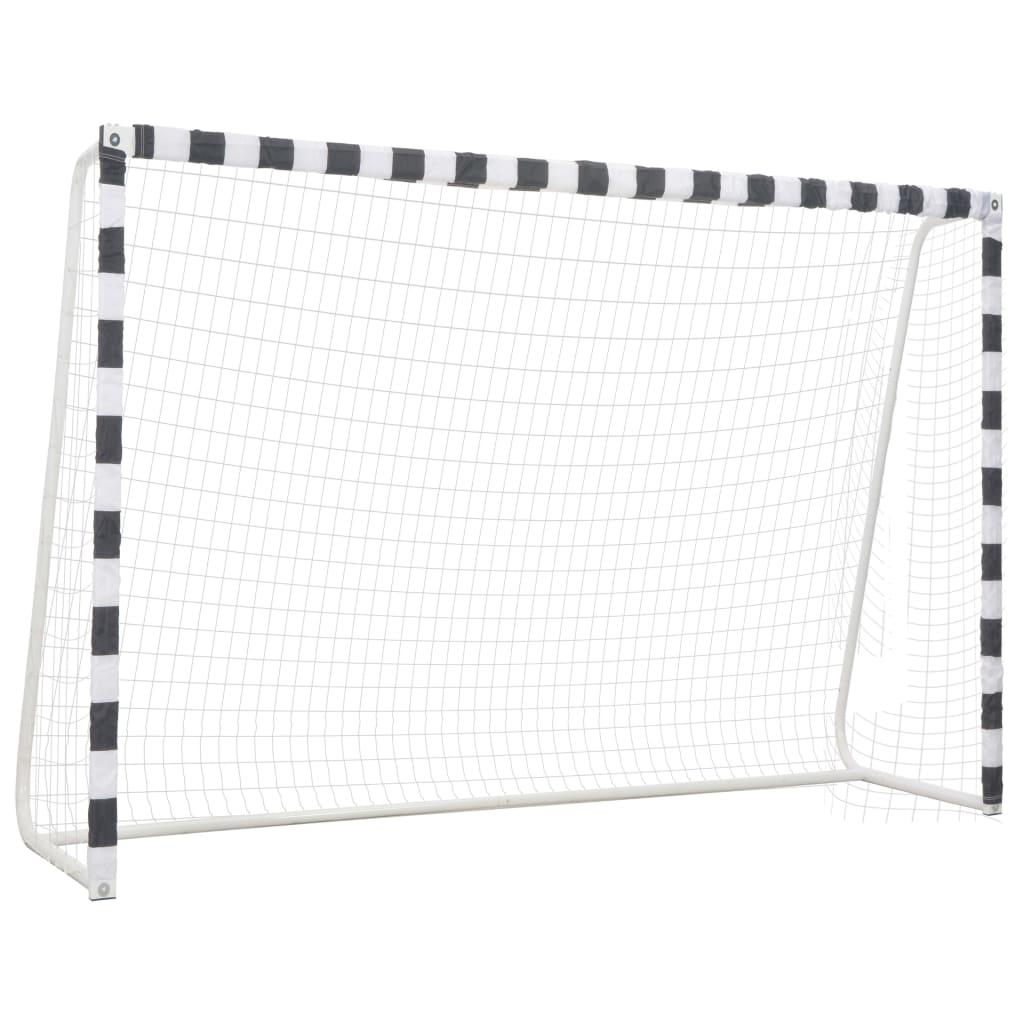 vidaXL Poartă de fotbal, negru și alb, 300 x 200 x 90 cm, metal poza 2021 vidaXL