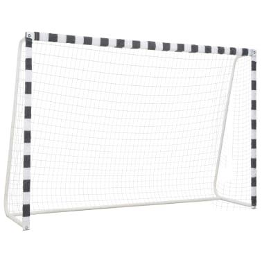vidaXL Bramka do piłki nożnej, 300x200x90 cm, metalowa, czarno-biała[1/5]