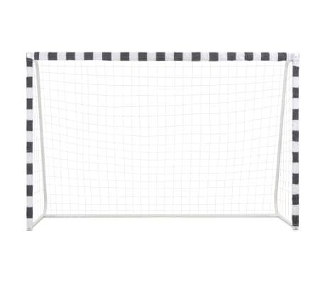 vidaXL Bramka do piłki nożnej, 300x200x90 cm, metalowa, czarno-biała[2/5]