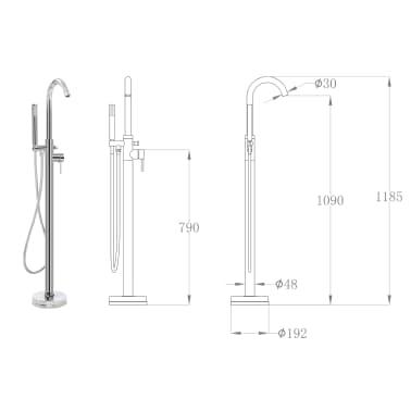 vidaXL Robinet de baignoire sur pied Acier inoxydable 118,5 cm[5/5]