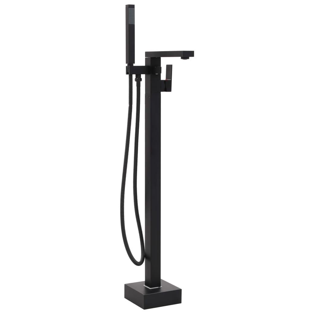 vidaXL Volně stojící vanová baterie černá nerezová ocel 90 cm