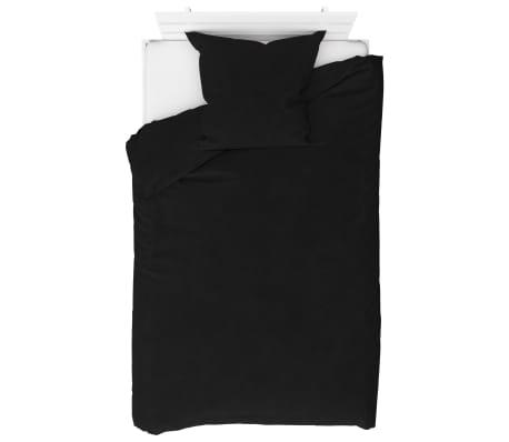 vidaXL Bäddset fleece svart 155x200/80x80 cm