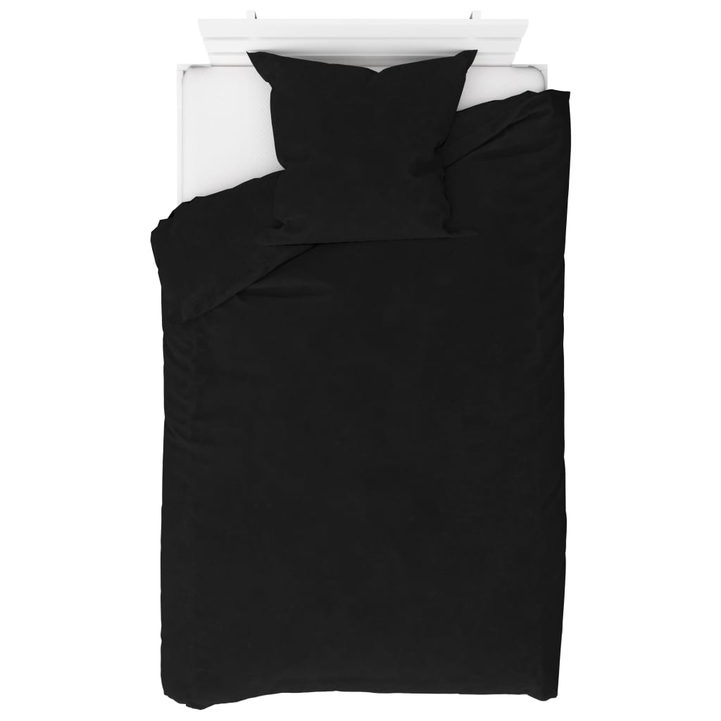 vidaXL Sada povlečení fleece černá 155 x 220 / 80 x 80 cm