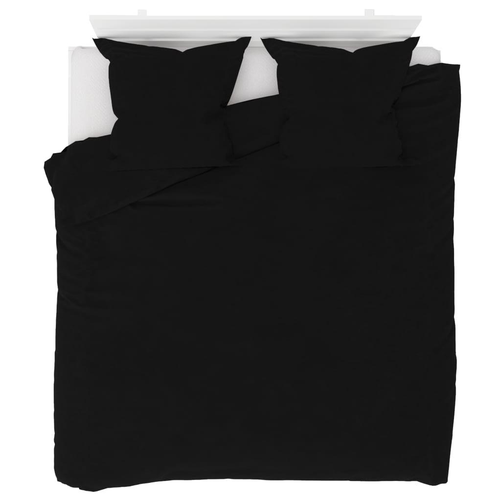 vidaXL Sada povlečení fleece černá 200 x 200 / 80 x 80 cm
