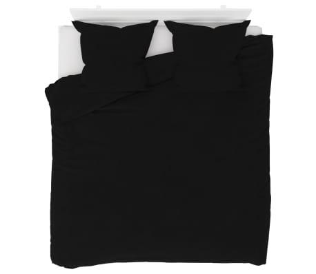 vidaXL Bäddset fleece svart 200x200/80x80 cm