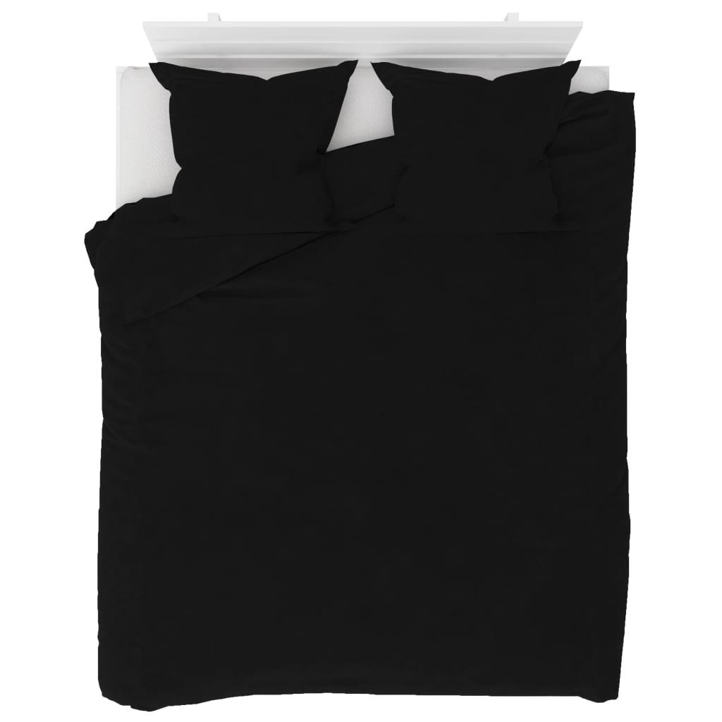 vidaXL Set husă pilotă, negru, 200 x 220/80 x 80 cm, fleece poza 2021 vidaXL