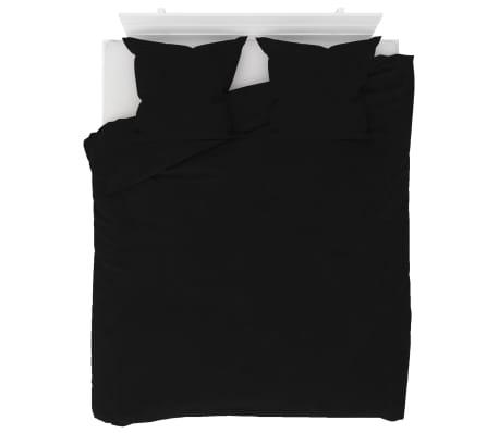 vidaXL Set husă pilotă, negru, 200 x 220/80 x 80 cm, fleece