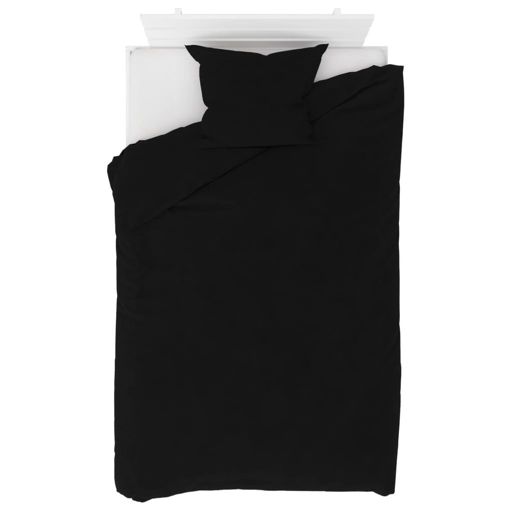 vidaXL 2dílná sada povlečení fleece černá 140 x 200 / 60 x 70 cm