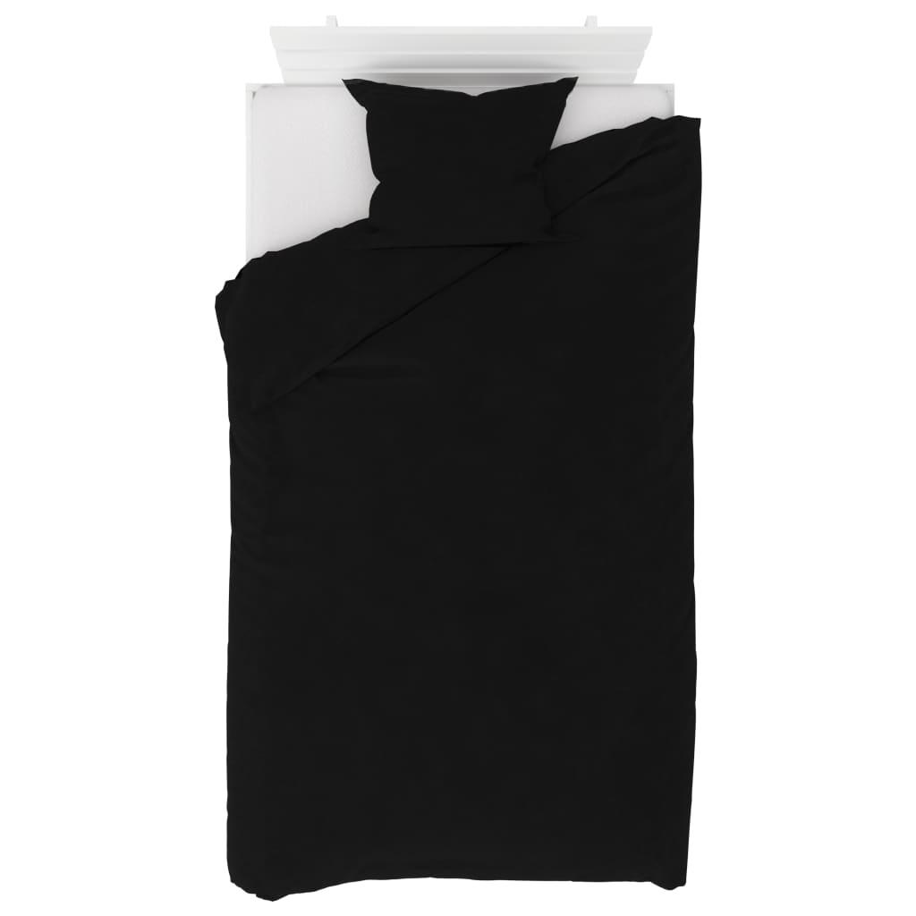 vidaXL 2dílná sada povlečení fleece černá 140 x 220 / 60 x 70 cm