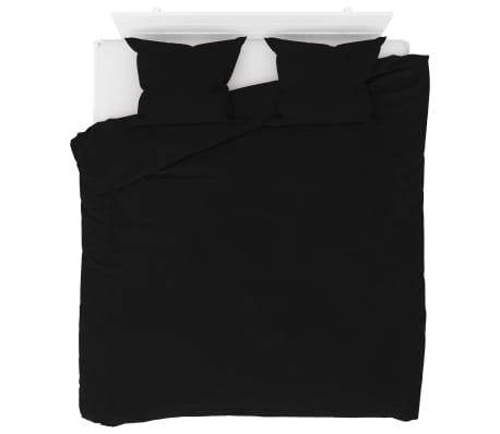 vidaXL Bäddset fleece svart 200x200/60x70 cm